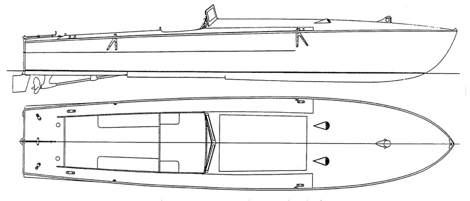 0387 motoscafo da 40 nodi l f t 9 75 m 1 10 for Disegnare piani di costruzione online gratuitamente